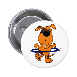 Happy Hound Dog Playing Hula Hoop Pinback Button