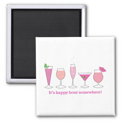 happy hour 2 inch square magnet