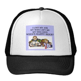 HAPPY HOUR beer joke Mesh Hat
