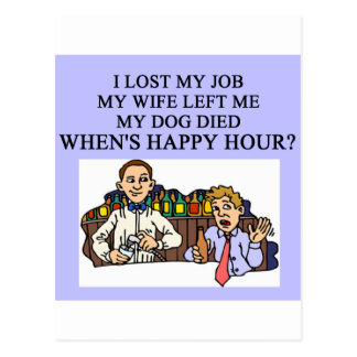 HAPPY HOUR beer joke Postcard