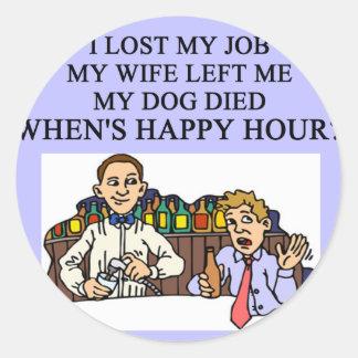 HAPPY HOUR beer joke Sticker