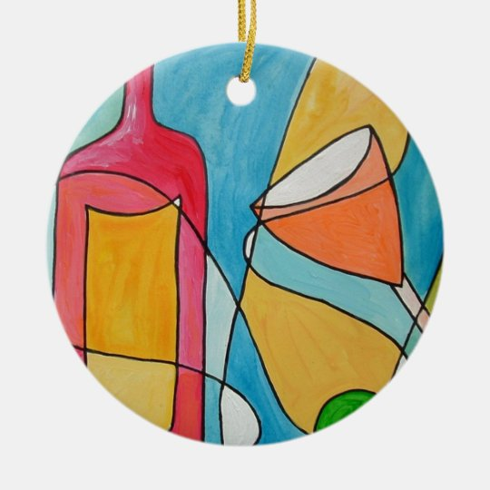 happy hour ceramic ornament