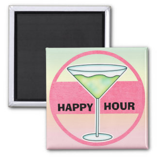Happy Hour Cocktail Moments 2 Inch Square Magnet