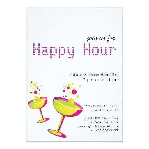 "Happy Hour Cocktails Party Invite 5"" X 7"" Invitation Card"
