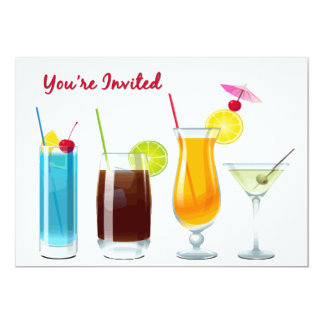 Happy Hour  Cocktails  You're Invited Card