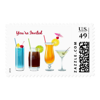 Happy Hour  Cocktails  You're Invited Postage