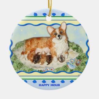 """Happy Hour"" Corgi Ornament"