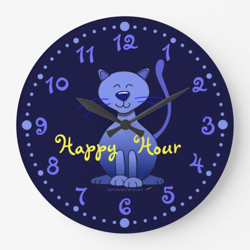 Happy Hour Cute Smiling Blue Cat Clock w/ Minutes