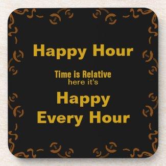Happy Hour Dark Square Hard Coasters