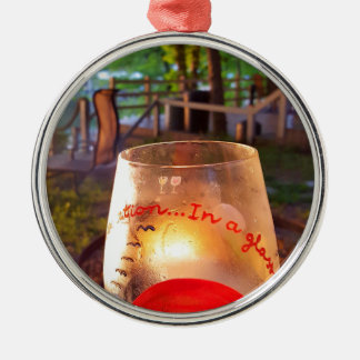 Happy Hour Firepit Through Wine Glass Metal Ornament