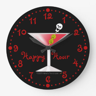 Happy Hour Funny Bloody Martini Clock w Minutes