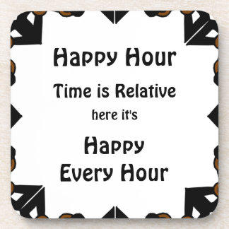Happy Hour is Every Hour White Square Coasters
