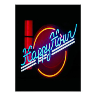 Happy Hour Neon Sign Poster