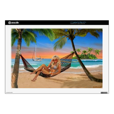 "Beach Themed Happy Hour on the Beach 17"" Laptop Decals"