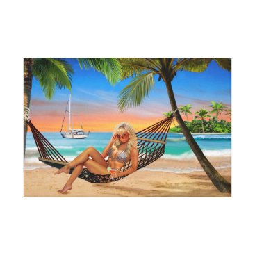 Beach Themed Happy Hour on the Beach Canvas Print