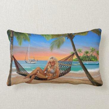 Beach Themed Happy Hour on the Beach Lumbar Pillow
