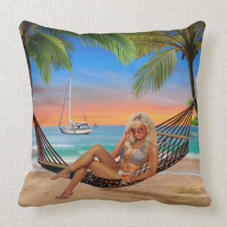 Happy Hour on the Beach Throw Pillow