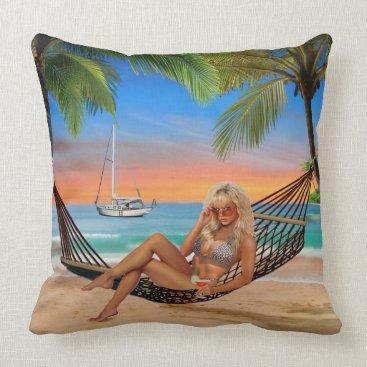 Beach Themed Happy Hour on the Beach Throw Pillow