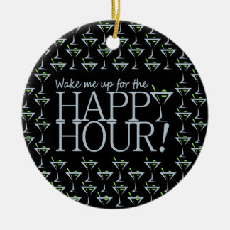 Happy Hour ornament, customize Double-Sided Ceramic Round Christmas Ornament