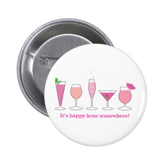 happy hour pinback button