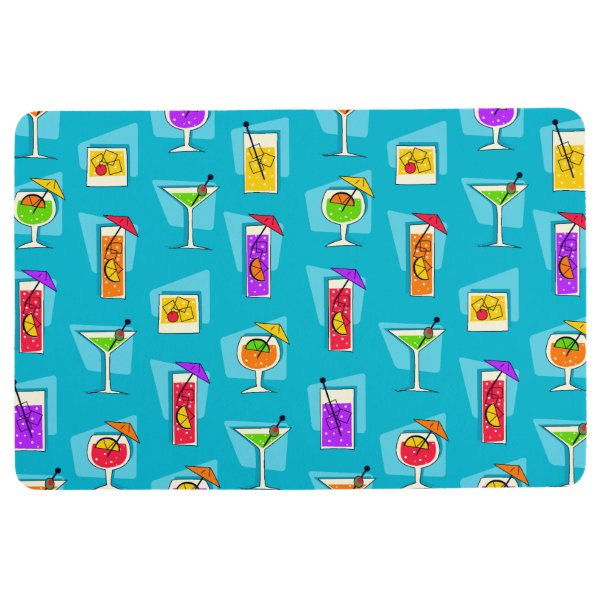 Happy Hour Retro Hawaiian Tropical Drinks Turq Floor Mat