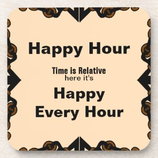 Happy Hour Square Hard Coasters