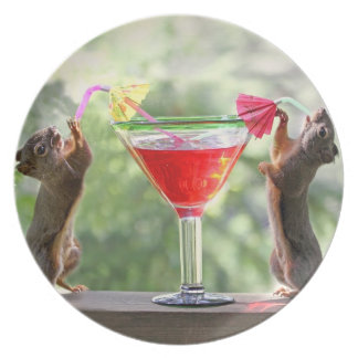 Happy Hour Squirrels Dinner Plate
