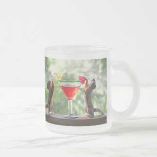 Happy Hour Squirrels Frosted Glass Coffee Mug