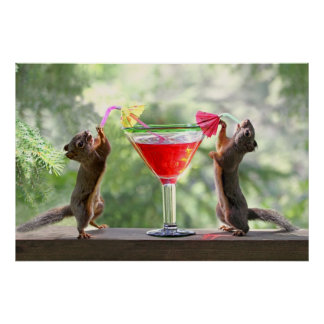 Happy Hour Squirrels Posters