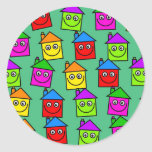 Happy House Wallpaper Classic Round Sticker