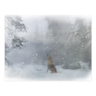 "Happy ""Howl""idays Wolf in the Snow Postcard"