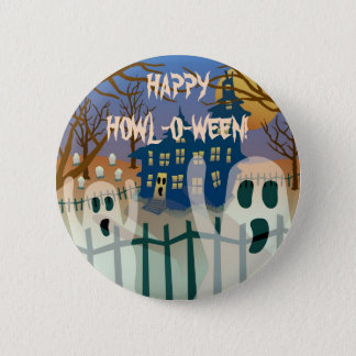 Happy Howl-O-Ween Button