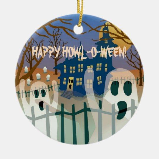 Happy Howl-O-Ween Ceramic Ornament