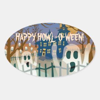 Happy Howl-O-Ween Oval Sticker