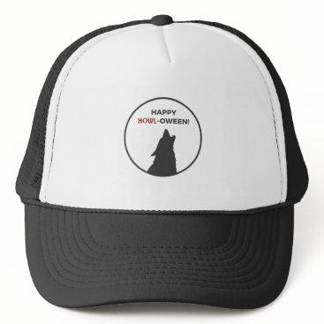 Halloween Themed Happy Howl-oween Werewolf Halloween Design Trucker Hat