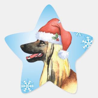 Happy Howliday Afghan Hound Star Sticker