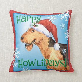 Happy Howliday Airedale Pillow