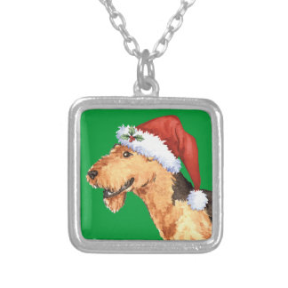 Happy Howliday Airedale Square Pendant Necklace