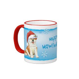 Happy Howliday Akita Ringer Mug