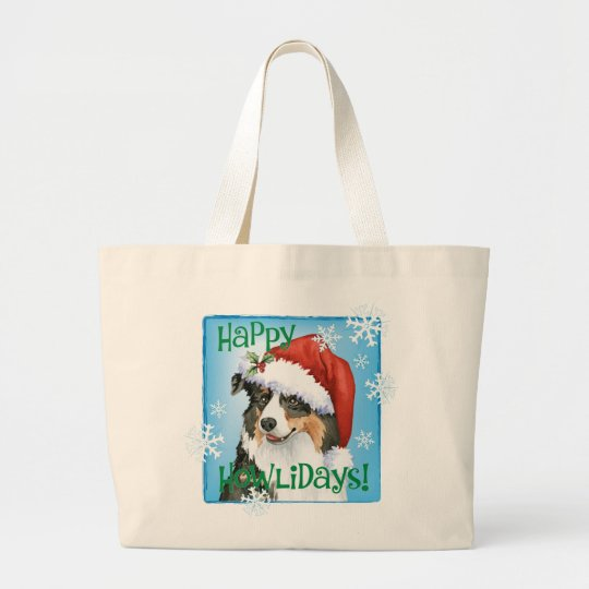 Happy Howliday Aussie Large Tote Bag