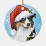 Happy Howliday Aussie Double-Sided Ceramic Round Christmas Ornament