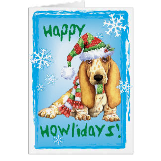 Happy Howliday Basset Greeting Card