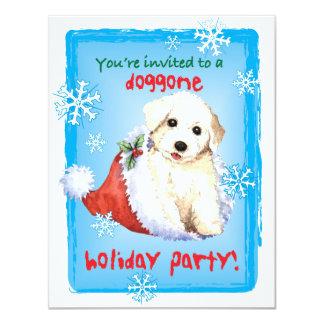 Happy Howliday Bichon 4.25x5.5 Paper Invitation Card