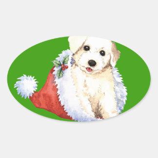 Happy Howliday Bichon Oval Sticker