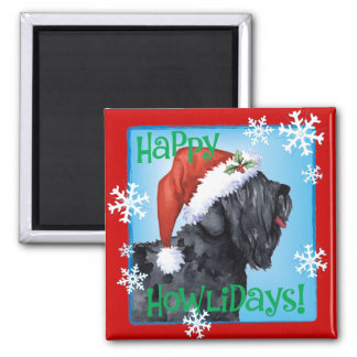 Happy Howliday Black Russian Terrier Magnet