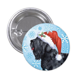Happy Howliday Black Russian Terrier Pinback Button