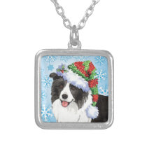 Happy Howliday Border Collie Silver Plated Necklace