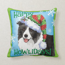 Happy Howliday Border Collie Throw Pillow