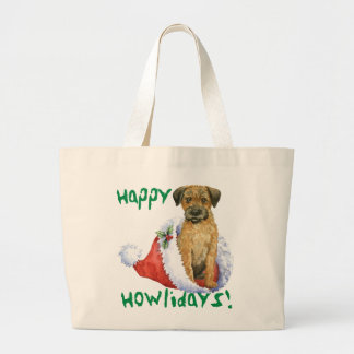Happy Howliday Border Terrier Large Tote Bag