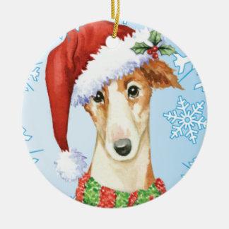 Happy Howliday Borzoi Ceramic Ornament
